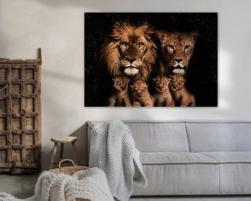 Löwenfamilie mit 4 Jungtieren von Bert Hooijer