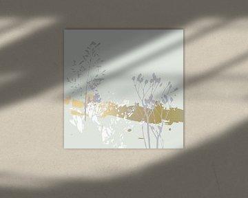 Botanische Pflanzen 18 . Gras und Pflanzen in Pastellfarben mit goldenen abstrakten Pinselstrichen von Dina Dankers