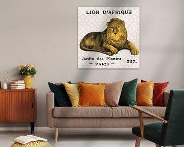 Heldere safari leeuw op taupe, Sue Schlabach van Wild Apple