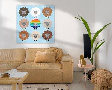 Wees are bruin en regenboog schapen sq, Moira Hershey van Wild Apple