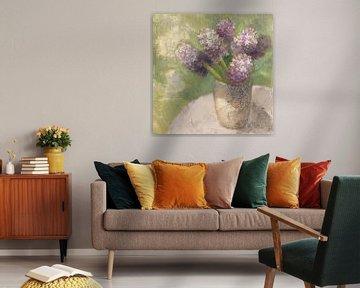Paarse hyacinten in vaas groen, Albena Hristova van Wild Apple