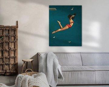 Mädchen taucht im Bikini ins Meer von Jan Keteleer