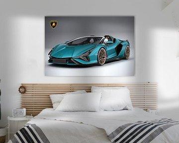 Lamborghini Sian Roadster met embleem