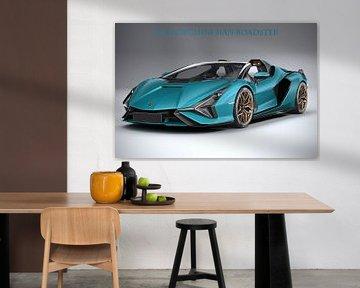 Lamborghini Sian Roadster met tekst