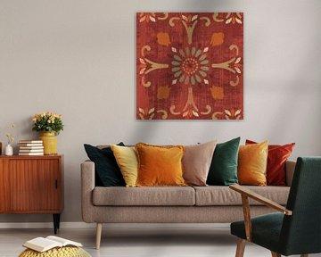 Marokkaanse patchwork rode tegel IV, Pela Studio van Wild Apple