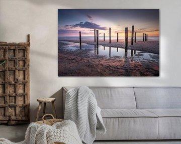 Zonsondergang Noordzee bij Palendorp in Petten van Silvia Thiel
