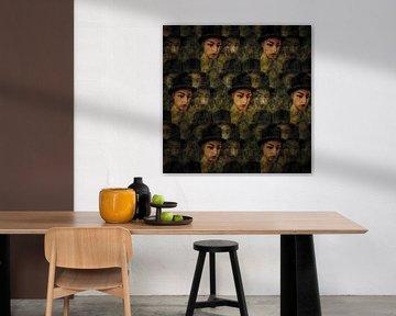 Golvend patroon van portretten
