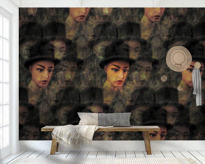 Sfeerimpressie behang: Golvend patroon van portretten van Ruben van Gogh