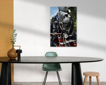 Alte schwarze Dampflokomotive in Frontalansicht von MPfoto71
