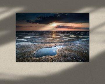 Waddenzee met ondergaande zon van Fotografiecor .nl