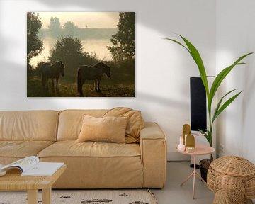 Rivierlandschap met Fjordenpaarden van Meraki Pattern Design