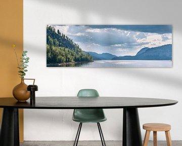 Panorama landschap (water, bergen, bos) in Noorwegen van Lampe Productions