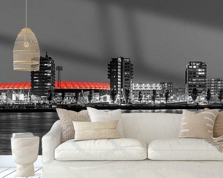 Sfeerimpressie behang: Panorama van De Kuip en de Veranda te Rotterdam van Anton de Zeeuw