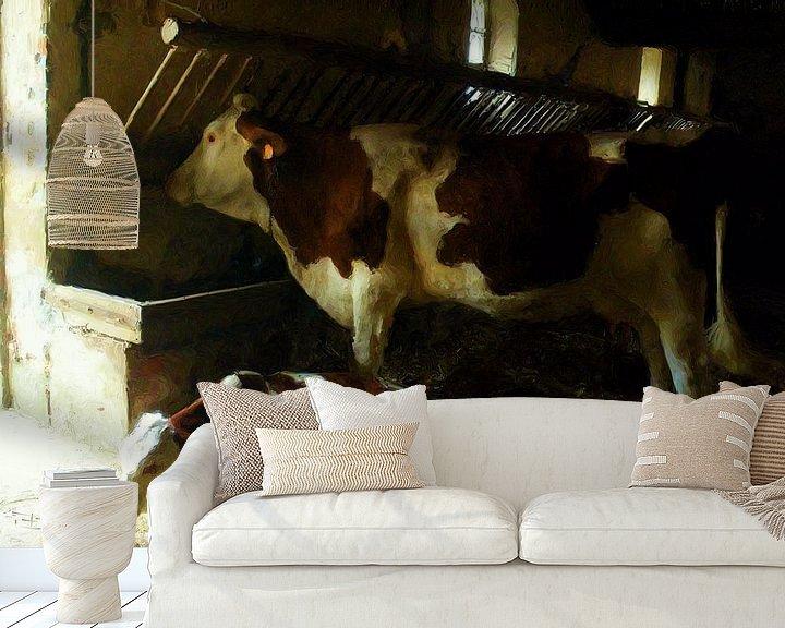 Sfeerimpressie behang: Koeien op stal van Frans Jonker