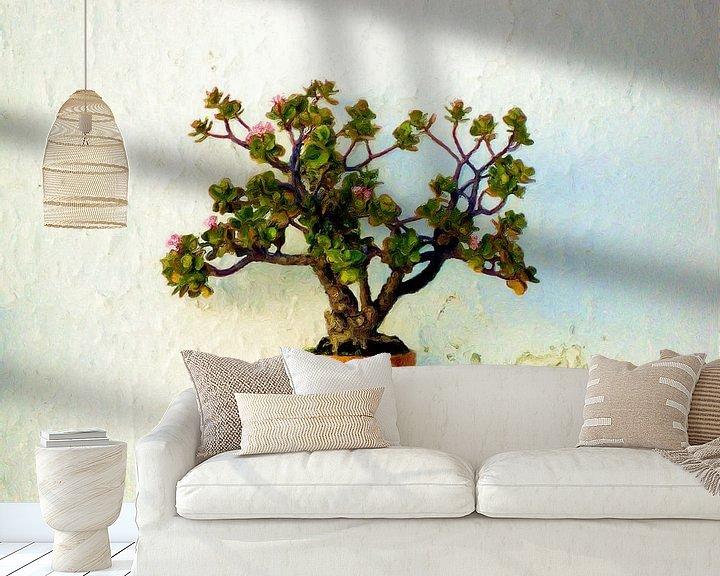 Sfeerimpressie behang: Vetplant aan de muur van Frans Jonker