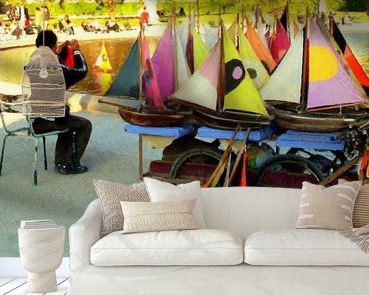 Sfeerimpressie behang: Bootjes verhuur in Parijs van Frans Jonker