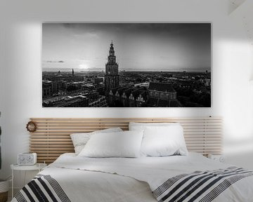 Centrum van Groningen in zwart-wit