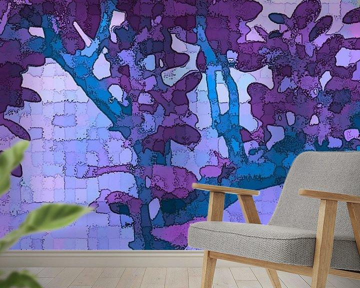 Sfeerimpressie behang: Krasulo kvadratis viola van Henk-Jan van Tuyl