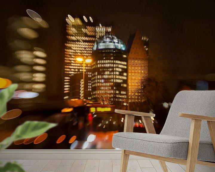 Sfeerimpressie behang: avond in de reigen, Den Haag van Ariadna de Raadt-Goldberg