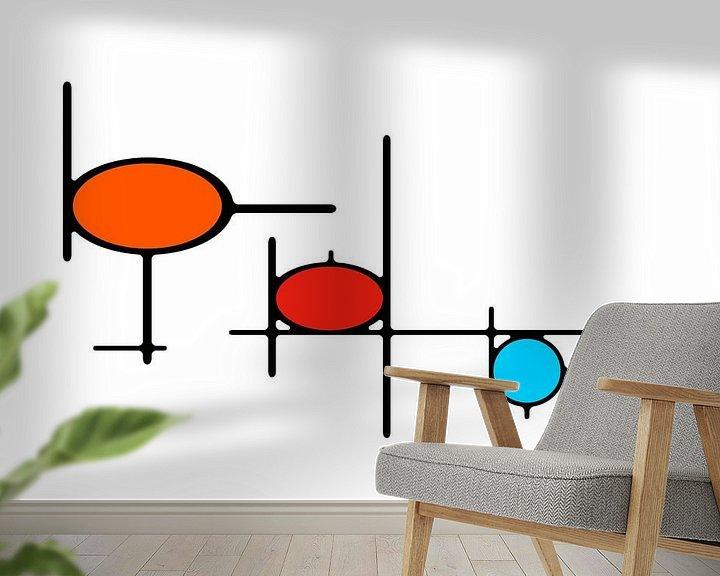 Sfeerimpressie behang: Organikaj Rondoj 1 van Henk-Jan van Tuyl