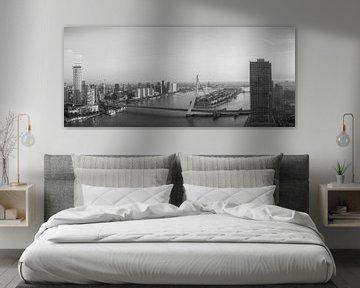 Panorama Rotterdam in zwartwit van Ilya Korzelius