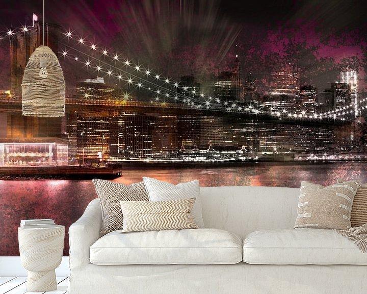 Sfeerimpressie behang: City-Art Brooklyn Bridge van Melanie Viola