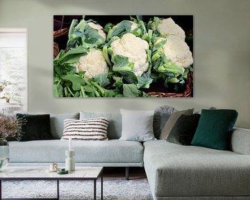 Chou-fleur blanc au marché
