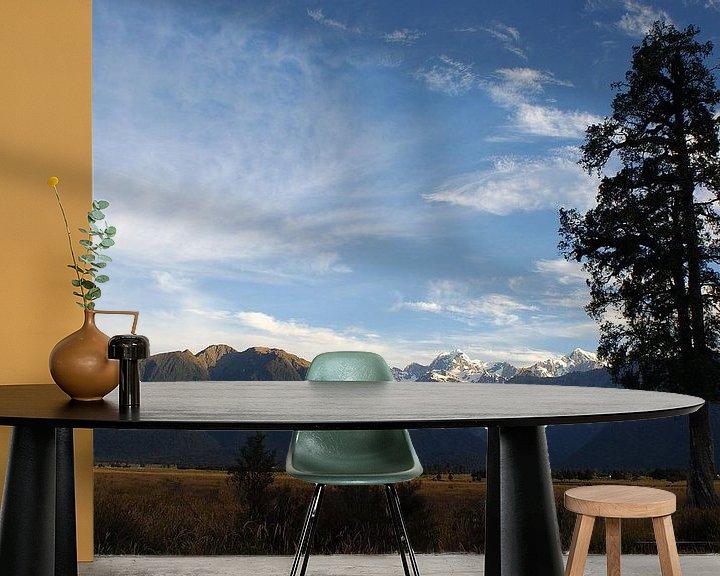 Sfeerimpressie behang: Southern Alps in de avondzon van Jeroen van Deel
