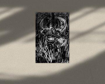 Digitales abstraktes Kunstwerk mit schwarzen und weißen Tönen. Zähes und robustes Gemälde eines scho von Wanddecoratie