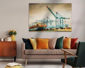 Hijskranen en containerschepen op de Tweede Maasvlakte, Rotterdam