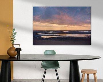 Zonsondergang over de Waddenzee van Florian Kunde