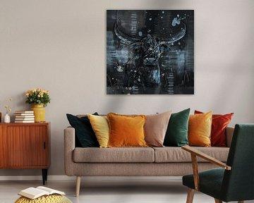 Abstract artwork van een stoere hooglander stier van Emiels de Lange