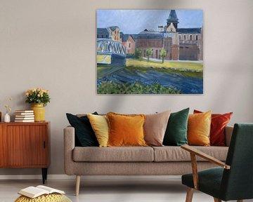 Haybes an der Maas von Antonie van Gelder Beeldend kunstenaar