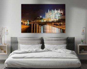 Kathedraal van Palma de Mallorca bij nacht, Spanje Balearen van Alex Winter