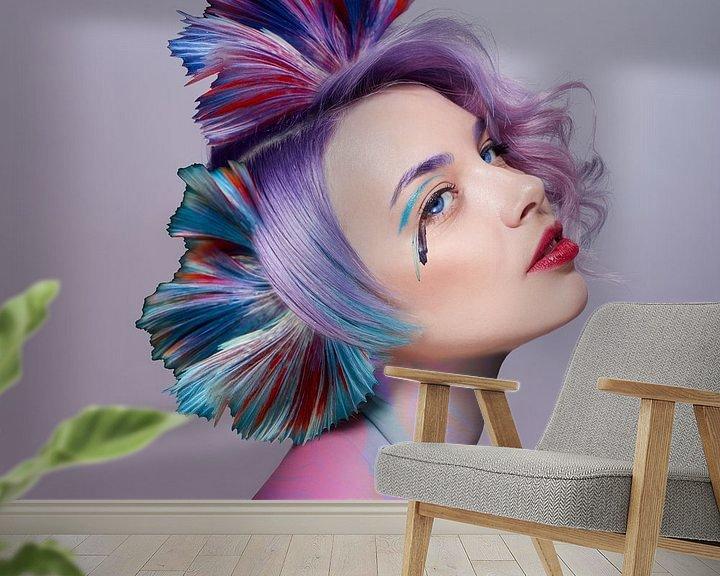 Sfeerimpressie behang: Het meisje met de fijnste kleuren van OEVER.ART