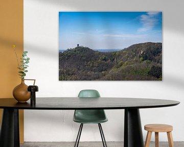 Prachtig uitzicht op de Drachenfels in het Siebengebergte van David Esser