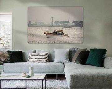 Roeiers onderweg naar de haven van Hoek van Holland. van scheepskijkerhavenfotografie