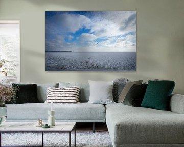 Bevroren markermeer met ganzen die over vliegen van Marjolein Spek-Sluijs