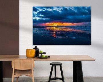 Zonsondergang aan de kust. van Nicolaas Digi Art