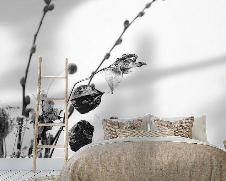 Beispiel fototapete: Trockenblumen in Schwarz und Weiß von Mei Bakker