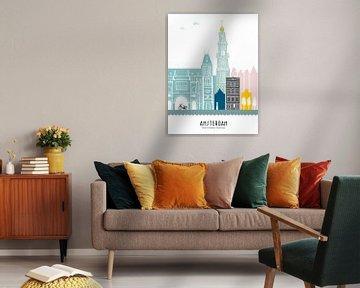 Skyline illustratie hoofdstad Amsterdam | Mokum in kleur van Mevrouw Emmer