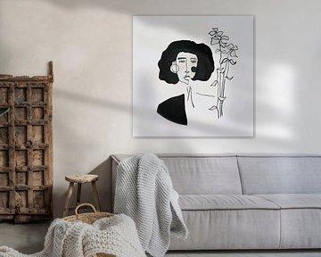 vrouw met bloemen boeket van kath.illustrated