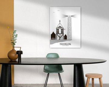 Skyline illustratie waddeneiland Terschelling zwart-wit-grijs van Mevrouw Emmer