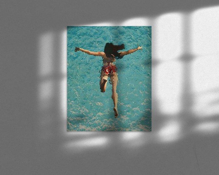 Impression: Peinture d'une fille nageant dans la mer sur Jan Keteleer