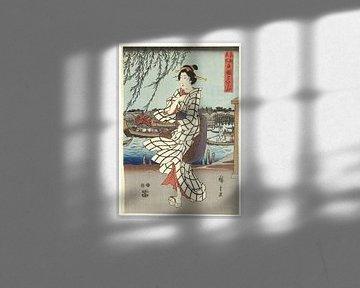Genietend van een avondbriesje bij de Ryogoku brug