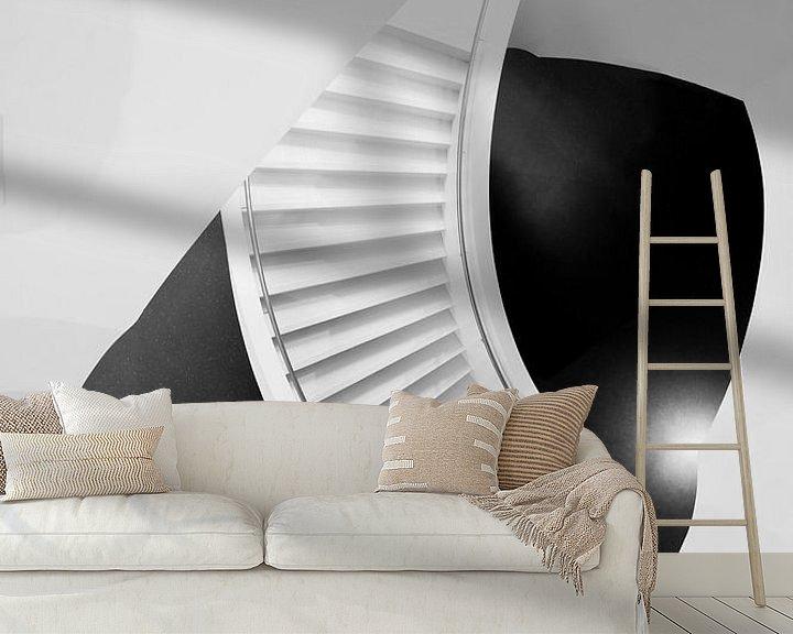 Sfeerimpressie behang: Trap in wit van Greetje van Son