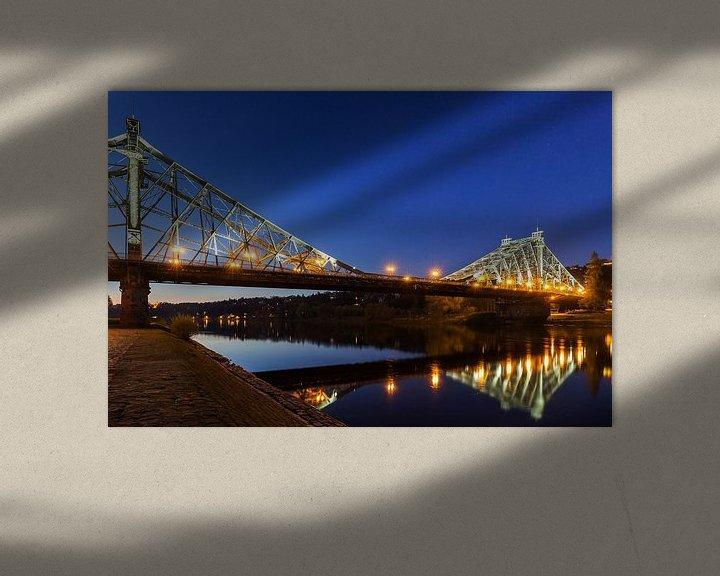 Beispiel: Dresden - Loschwitzer Brücke (Blaues Wunder) zur blauen Stunde von Frank Herrmann