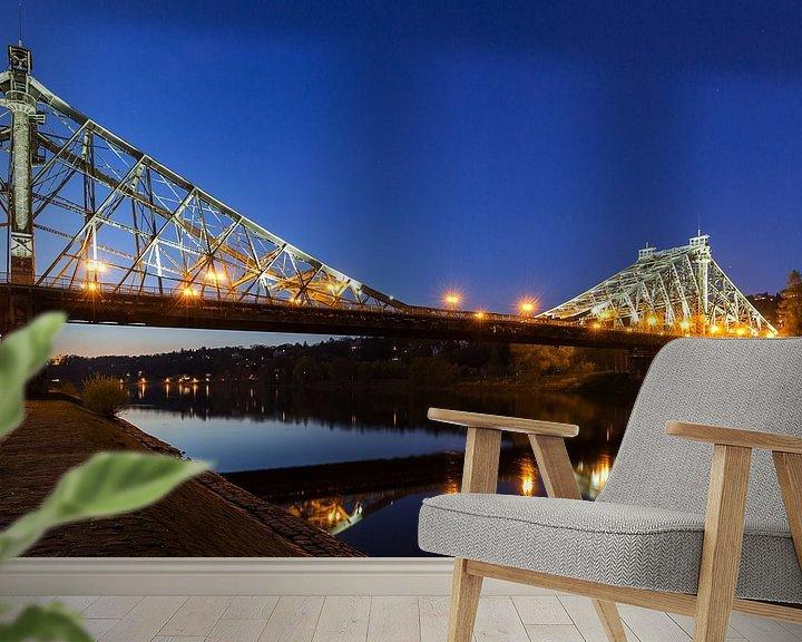 Beispiel fototapete: Dresden - Loschwitzer Brücke (Blaues Wunder) zur blauen Stunde von Frank Herrmann