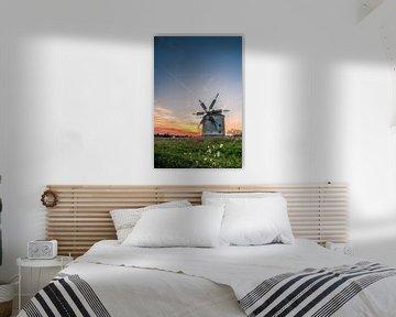 Windmolen in het veld. Landschapsopname van Tez bij zonsondergang van Fotos by Jan Wehnert