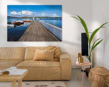 Haven met boten op het eiland Merdø in Noorwegen van Rico Ködder